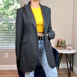 Massimo Dutti Virgin Wool Long Striped Blazer